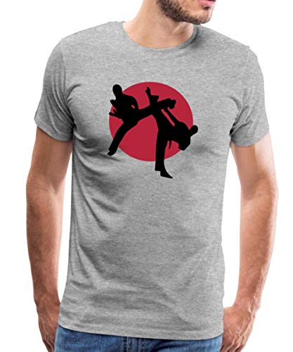 Martial Arts, Karate, Kick Boxing, Judo, Taekwondo Männer Premium T-Shirt, M, Grau meliert