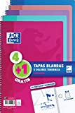Pack 4+1 Cuadernos Folio(A4) Oxford. Tapa Blanda. 80 Hojas cuadrícula 4x4. Surtido aleatorio tendencia.