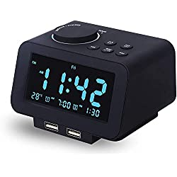 Viktle Alarm Clock Radio - FM Radio, Dual USB Port for Charging, Temperature Display, Dual Alarms, 5 Level Brightness Dimmer, Adjustable Alarm Volume, Sleep Timer for Bedrooms