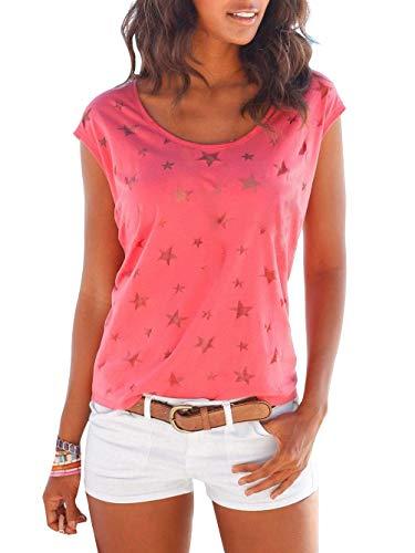 Uniquestyle Damen Sommer T-Shirt Kurzarmshirt mit Sternen Druck Rundhals Lässige Stretch Bluse Tops Oberteil Shirts Rot XL