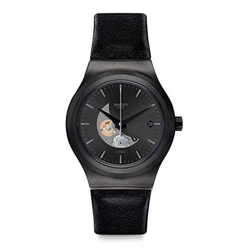 Swatch Herren Analog Automatik Uhr mit Leder Armband YIB404