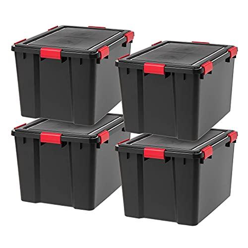 IRIS USA, Inc. UCB-Color WEATHERTIGHT Storage Box, 74 Qt, Black/Red, 4 Count