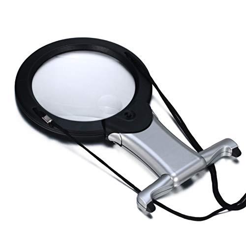 Ledlamp voor op de hand van het bureau; dubbele power-loep, opvouwbare houder voor eenvoudig transport, optisch acryl lens met hoge resolutie (2x/6x), gebruikt voor het lezen, onderhoud, kunsthandwerk