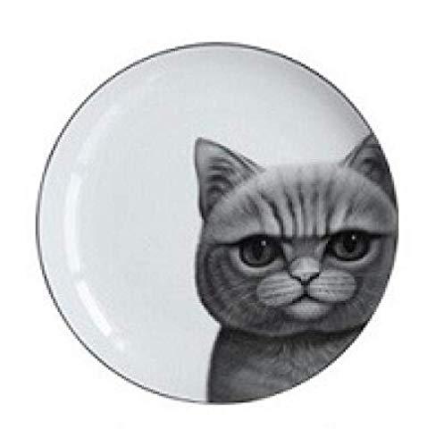 YNHNI Juego de platos de cena de 8 pulgadas perro gato impreso plato de cena decoración del hogar hueso china carne platos de la torta de frutas cerámica cocina platos contenedor, repetible