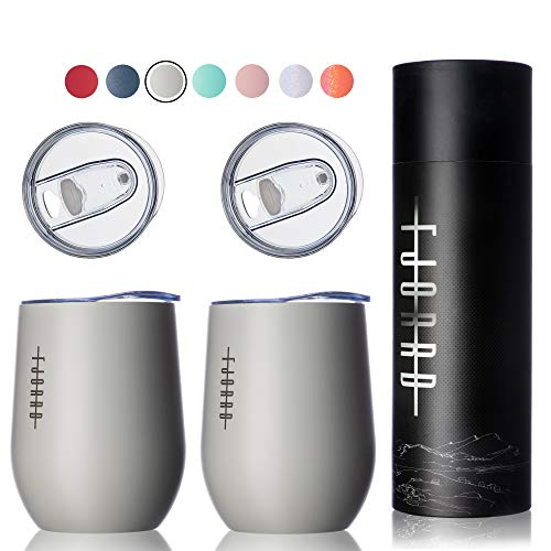 Fjorrd 12 oz Triple Insulated Wine Tumbler with Lid Comes with 4 Lids and Gift Box Double Wall Stainless Steel Stemless Wine Tumbler Unbreakable Outdoor Travel Wine Glass  Glacier Gray 2 Pack Set