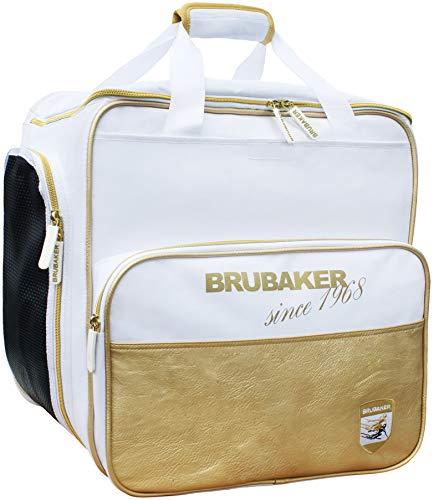 BRUBAKER 'St. Moritz' - Bolsa de Deporte - Mochila para Botas de esquí + Casco + Accesorios - Color Blanco/Dorado