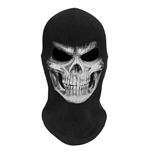 Ourine Máscara de Esqueleto de Halloween 3D Esqueleto de Miedo Pasamontañas Fantasma Disfraz de Cosplay Fiesta de Halloween Máscara de Cara Completa