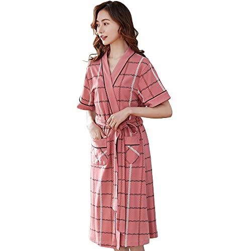 Batas De Dama De Honor Ropa De Dormir De Algodón Bata De Mujer Albornoz Kimono Sleep Lounge Manga Corta,Pink-XL