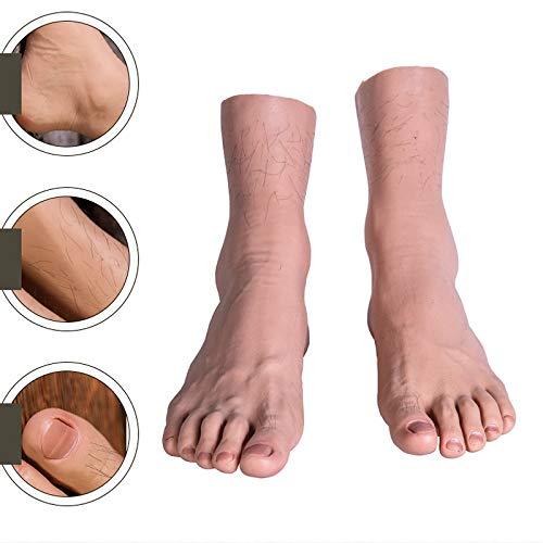 SEYJ Männlicher Mannequin-Fuß in Lebensgröße aus Silikon mit Knochen- / Implantathaar- / Blutgefäßanzeige-Juwelensandale-Schuhsocken-Kunstskizze