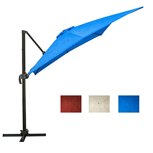 FrenzyBird Rectangular Patio Umbrella 10 Ft Offset Hanging Market Umbrella Cantilever Umbrella 360-Degree Rotatable with Cross Base for Patio Tables, Blue