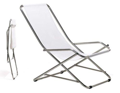 Jan Kurtz Fiam Dondolina textilène blanc aluminium Fauteuil basculant 445153 Klappsessel