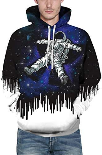 FLYCHEN Men's NASA Hoodies Astronaut Space Suit Long Sleeve Sweatshirts Unisex Pullover 3D Printed NASA Pattern Jumper Plus Size (S, Astronaut 1)