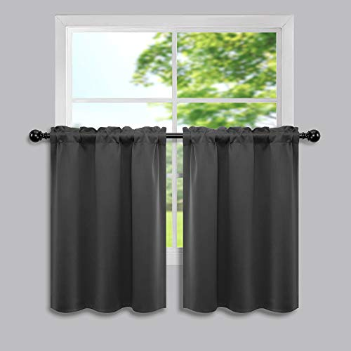 24 Inch Length Curtains for Small Windows 2 Panels Pocket Cafe Curtain Tier Blackout Dark Grey Short Curtains for Bathroom Bedroom Gray Wide 34x24 Long