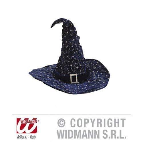 Chapeau de sorcière/magierhut en velours bleu foncé avec paillettes argent