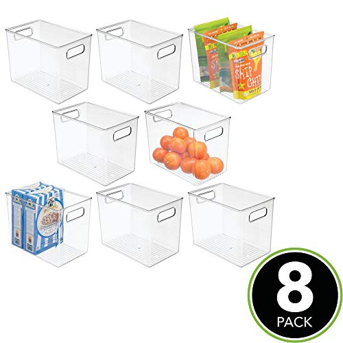 mDesign Plastic Food Storage Container Bin with Handles - for Kitchen, Pantry, Cabinet, Fridge/Freezer - Narrow for Snacks, Produce, Vegetables, Pasta - BPA Free, Food Safe - 8 Pack, Clear