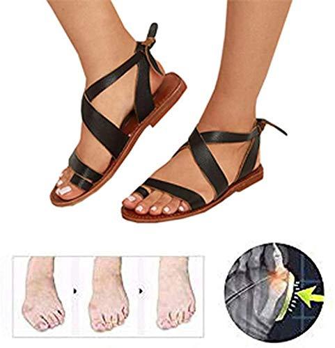 Vrouwen Boheemse sandalen Platte sandalen Zomer Open teen strandschoenen Dames Enkelband Romeinse sandalen Grote maten slippers
