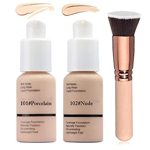 2 Colors Liquid Foundation 101 & 102 Full Coverage Foundation Makeup with Foundation Brush, Matte Oil Control Facial Blemish Concealer Foundation for Women (101#Porcelain&102#Nude)