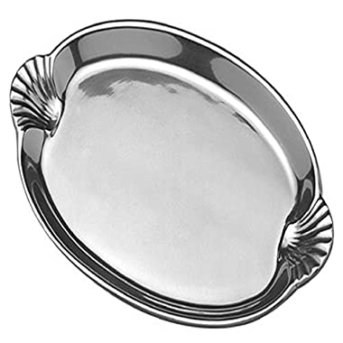 Wilton Armetale Sea Life Scallop Handled Oval Serving Tray, 10.75-Inch-by 16.5-Inch - 356234