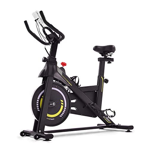 WZFANJIJ Bicicleta Spinning Estática con Sensor de Pulso, Volante de Inercia, Ajustable Resistencia,Bicicleta Fitness de Gimnasio Ejercicio con Pantalla,Soporte,Yellow