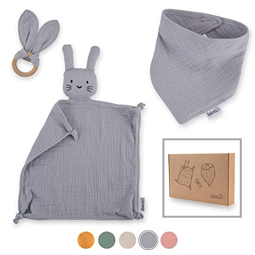 Räuberella Schmusetuch, Beißring und Lätzchen, Baby Geschenk zur Geburt Junge