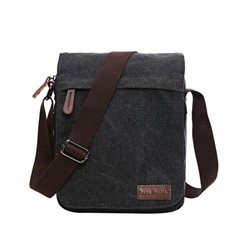 Leinwand Messenger Bag Umhängetasche Laptop Tasche Computer Tasche Umhängetasche aus Segeltuch Tasche Arbeiten Tasche Umhängetasche für Männer & Frauen, Herren, Schwarz Small