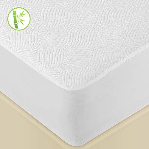 Lute - Protector de colchón (160 x 190/200 cm, impermeable, fibra de bambú, transpirable, ultrasuave y silencioso, forma sábana bajera, hipoalergénica, antiácaros, cubre colchón 160 x 190/200 cm)
