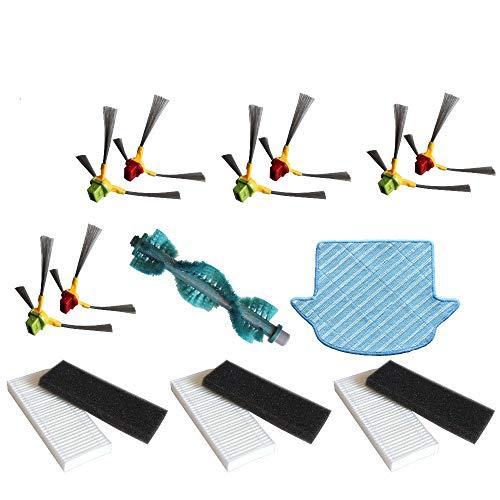 YTT für Ecovacs Deebot D66 D63 D65 D68 D77 D79 D80 D83 Hauptbürste* 1 Seitenbürste* 8 HEPA-Filter* 6 Mop Tüch* 1