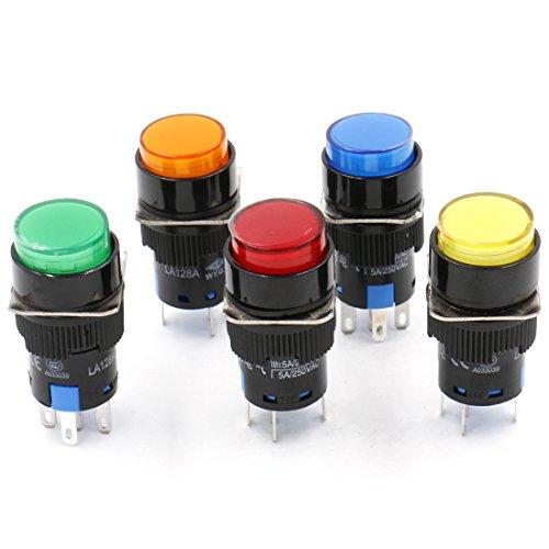 Heschen Interruptor de botón de cierre redondo de 16 mm 1NO 1NC rojo, azul, amarillo, verde, naranja, 220 V LED lámpara