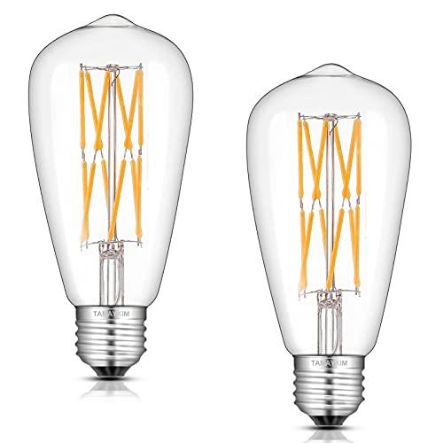 ST64 12W LED Ampoule de Edison Antique à Filament,2700K Blanc Chaud 1000 Lumens,100W Ampoule à incandescence équivalent,Base à Vis E27,Non Gradable,Lot de 2