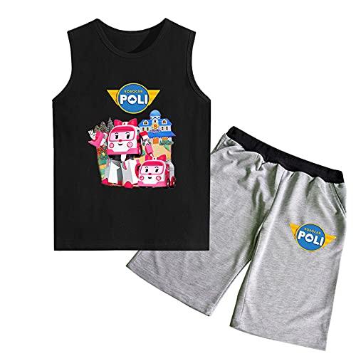 MONA@FILTER Niños niñas niños Moda impresión robocar Poli Camiseta Personajes de Dibujos Animados tee Shirt Casual Pantalones Cortos Ropa 100-170 cm,Style 2,120cm