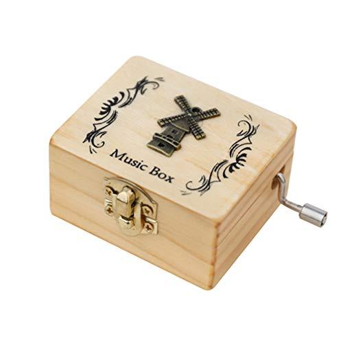 BESPORTBLE Trä musiklåda manuell hand vev graverad bokstav skrivbord vintage musiklåda för födelsedag alla hjärtans dag nyår födelsedagspresent
