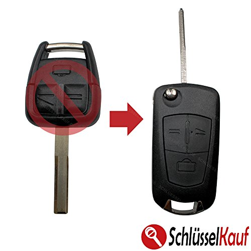 KONIKON Autoschlüssel Schlüsselgehäuse Schlüssel Umbau Klappschlüssel HU43 Gehäuse Umbaukit Schlüsselrohling Rohling Neu passend für Opel Meriva Signum Omega Vectra Zafira