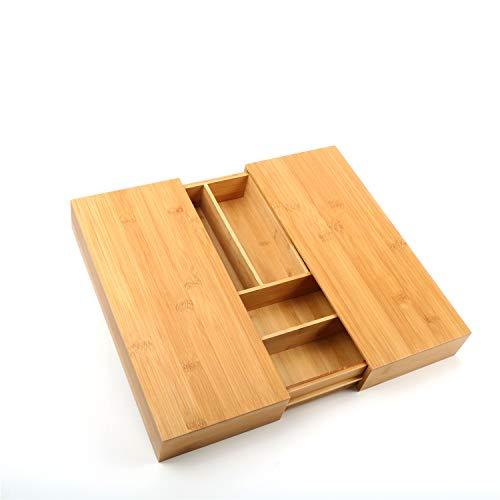 uyoyous竹製カトラリートレイ伸縮式カトラリーケース整理トレーキッチンツール用品収納ケース小物収納引き出し収納ケース