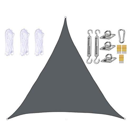 JJIIEE Toldo Triangular de Vela Parasol, 98% de Bloqueo UV para terraza de jardín al Aire Libre, con Cuerdas y Kit de Montaje de Acero Inoxidable,Dark Gray,6 x 6 x 6m