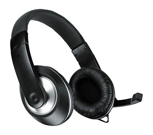 Speedlink THEBE CS Stereo Headset - Kopfhörer für Büro/Home Office (Einklappbares Mikrofon - Kabelfernbedienung - Multimedia Klang) Klinkenstecker für PC/Notebook/Laptop, Kabellänge 2m schwarz