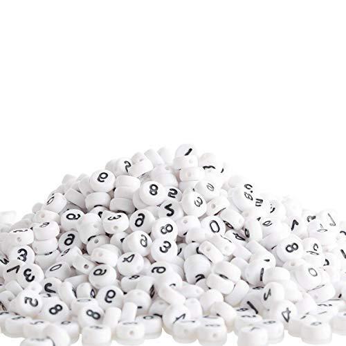 Trimming Shop Acryl Wit Platte Ronde Aantal Kralen met Zwarte 0 tot 9 cijfers voor Telefoonnummers, Sieraden, Armbanden, Kettingen, Sleutelhangers Maken, 100 stuks