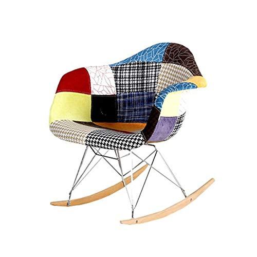 Zolta Schaukelstuhl Wohnzimmer Skandinavisch - Retro Polsterstuhl mit Metall Bein - Skandinavisches Design Stühle - Gepolstert Wohnzimmerstuhl Modern - Schalenstuhl - Patchwork Stuhl