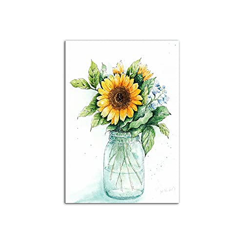 PENGDA Yellow Sunflower Canvas Wall Art Rustic Farmhouse Countryside Decorations for Bedroom Bathroom Living Room Kitchen Piutures Wall Art Decor No Frame Size 8x12in for Boys& Girls