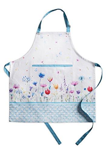 Maison d' Hermine Flower in The Field 100% Baumwolle 1-teilige Küchenschürze mit verstellbarem Hals und versteckter Mitteltasche, Langen Krawatten für Frauen/Männer | Küchenchef | Kochen(70cm x 85cm)
