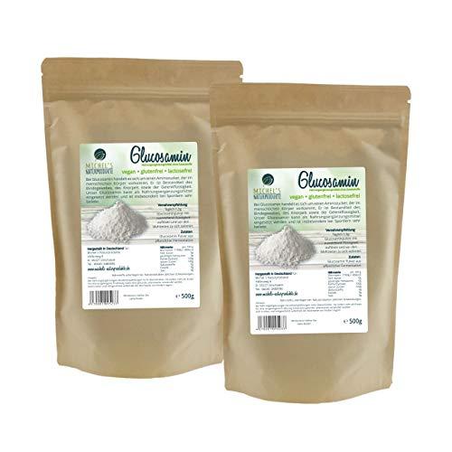 Michel´Naturprodukte Glucosaminsulfat Pulver 1kg (2x500g) -reines Glucosamin-Vegan-Aus pflanzlicher Fermentation-Glucosamine-Premium Qualität