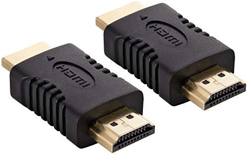 Poppstar 2X HDMI Adapter Kupplung (Stecker auf Stecker) (Full HD 1080p, 4k UHD 2160p), HDMI Kabel Verlängerung - Verbindung, schwarz, vergoldete Kontakte
