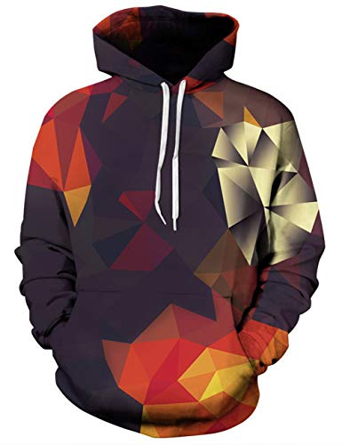 Goodstoworld 3D Hoodie Mens Womens Colorful Geometry Printed Orange Novelty Pullover Hooded Sweatshirt Big Pocket Teen M