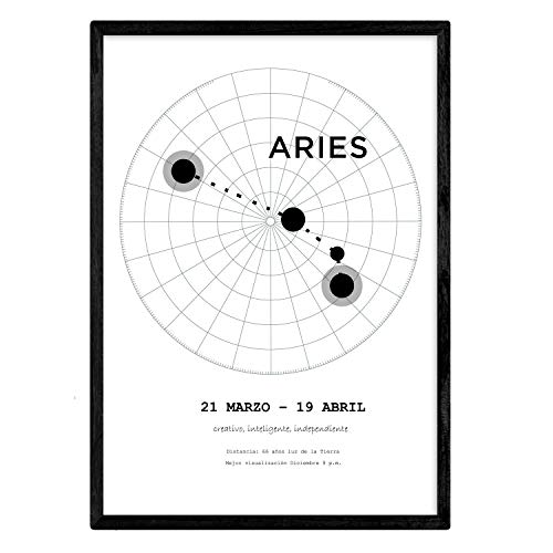 Nacnic Lamina con la constelación Aries. Poster con símbolo del Zodiaco en tamaño A4 y Fondo del Cielo Estrellado