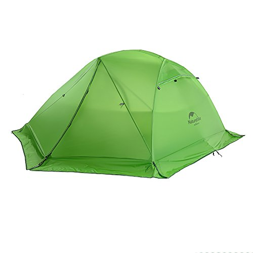 Naturehike Star-River Tenda ultraleggera 2 Persone 4 stagioni Tessuto in silicone 20D Doppi strati (verde con gonna)