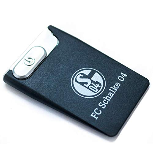 FC Schalke 04 USB-Feuerzeug schwarz, Feuerzeug mit Glühspirale, USB Card Lighter S04 - Plus Lesezeichen I Love Gelsenkirchen