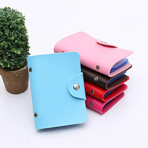 Fashion Credit Card Holder Men Women Travel Cards Wallet PU Leather Buckle Business ID Card Holders-Blue