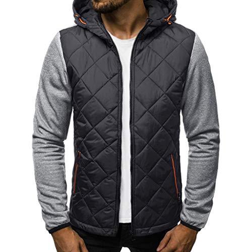 SANFASHION Herren Basic Übergangsjacke Casual Langarm Patchwork Hoodie Kapuzenpullover Leichte Bomberjacke Fliegerjacke Modern Jacke Sportswear