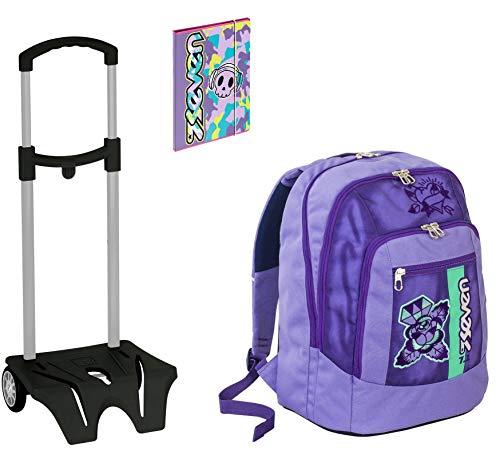 Seven Advanced School Backpack Colour Girl Purple + Easy Trolley + A4 Folder