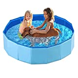 Foldable Dog Pool, Kiddie Pool Plastic Swimming Pool Portable Pet Bathing Tub, Summer Outdoor Backyard Pool for Kids, Children, Dogs and Cats 63'x11.8' (Blue)