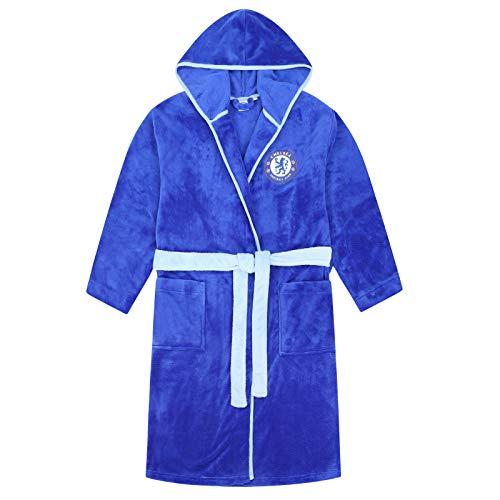 Chelsea FC Official Soccer Gift Mens Hooded Fleece Dressing Gown Robe Medium